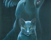 """Black cat, dog, and raven under a full moon in a dark, night sky - Art Reproduction (Print) - """"Familiars"""""""