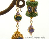 Asymmetrical Earrings - Ultimate Mardis Gras beaded beads - purple  green gold