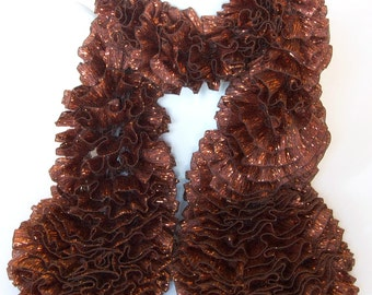 CLEARANCE - Bronze Ribbon Scarf Copper Knitted Ruffle Metallic Scarf by Emma Dickie Design