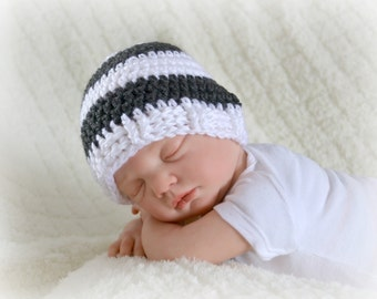 Crochet Baby Boy Beanie Newborn to 5T Hat White/Charcoal - MADE TO ORDER