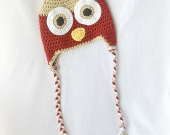 READY TO SHIP - Crochet Baby Owl Earflap Hat - 6-12 months - Autumn Red and Bone