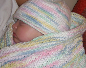 Baby Receiving Blanket & Hat