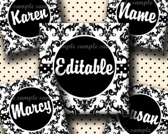 INSTANT DOWNLOAD Editable JPG Black And White Damask (677) 4x6 1 inch Square Images Digital Collage Sheet for glass tiles