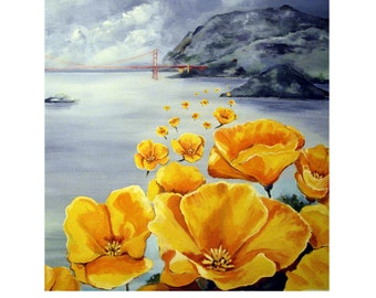 The City by the Bay,California Poppies Golden Gate Bridge San Francisco, Original travel Poster Artist Print Wall Art, Free Shipping in USA