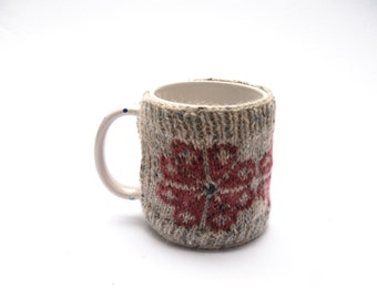 Knitted Mug cosy - cream fair isle wool cup cozy - large pink pastel flowers- mothers day gift - for mum - large