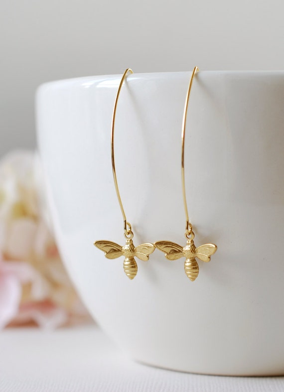 Gold Bee Earrings. Gold Plated Brass Bee Long Dangle Earrings. Bee Jewelry. Spring Summer Bee Accessory