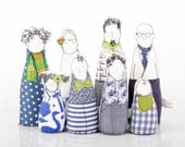 Christmas Dollhouse dolls - Handmade Family Dolls ,Grandparents, parents & children - Modern Family in green,blue Geometric , 12th scale