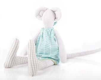 Plush Minimalist bright lilac mouse doll wearing mint turquoise chevrondress & Gray plaid socks -  handmade fabric cuddly toy doll