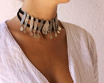 Silver Statement Necklace, Big Silver Necklace, Sterling Silver Choker, Onyx Black Necklace, Black Velvet Necklace