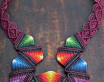 Fiber statement necklace AZTECA, colorful bib necklace handmade by ARUMIdesign