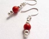 Red Sponge Coral Gemstones, Silver Dangle Earrings