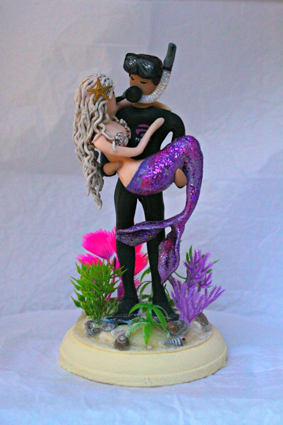 mermaid and scuba diver wedding cake topper customized to your