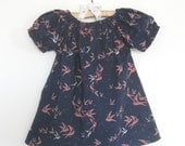 Baby Girl Summer Dress- Navy Bird Print Peasant Dress