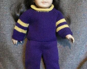 18 inch Doll Knitting Pattern Raglan Jersey and Sweatpants PDF