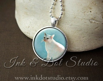 White Cat Necklace, Cat Pendant, White Cat Art Necklace, Cat Lover Gift