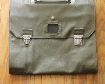 Vintage 60's Olive Drab Waterproof Tri-Fold Swiss Briefcase/Satchel/Messanger Bag