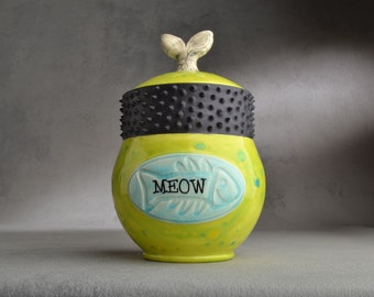 Cat Treat Jar Made To Order Fish Tail Fish Stamped Cat Treat Jar by Symmetrical Pottery