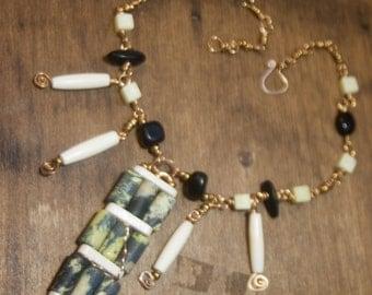 Funky Choker Green Stone Bone Brass Necklace Swirls Tribal Look Stone Wired Pendant - Seven Seas - Art Jewelry by Ardent LIfe