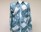 Vintage 1970s Shirt / 70s Mens Floral Print Disco Shirt / Large