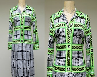 Vintage 1960s Dress/ 60s Mr. Dino Mod Op Art Drop-waist Shirt Dress / Small - Medium