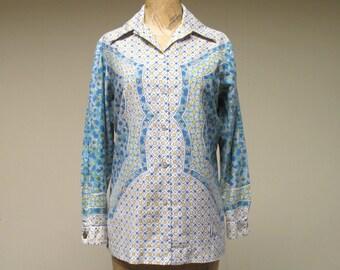 Vintage 1960s Blouse / 60s VERA Cotton Indian Print Tunic French Cuffs / Medium