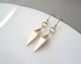 Gold Spike Earrings | Minimalist Earrings | Spike Jewelry | Gold Dangle Earrings | Gold Drop Earrings | Bronze Spike Earrings