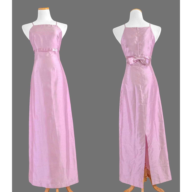 Vintage 90s Long Formal Dress / 1990s Iridescent Pale Pink