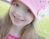 Girl Hat Newsgirl Brimmed Newsboy Crocheted Hat Pink with Ivory Flower button center, Brim, Bill for baby toddler child tween teen adult