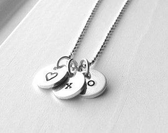 Sterling Silver XO Heart Necklace, XO Necklace, Heart Necklace, Tiny Initial Necklace, Hugs and Kisses Charm Necklace, Small Heart Necklace
