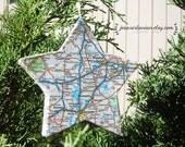 Custom Map Location Handmade Star Christmas Ornament