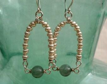 Green Aventurine Silver Loop Earrings Long Gemstone Dangles Wire Jewelry Geometric Sterling Silver Drop Earrings