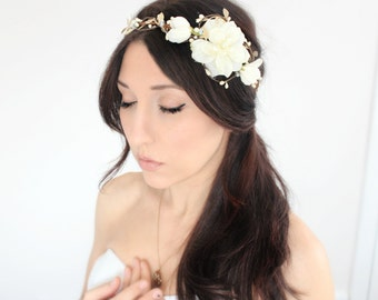 Gold and Ivory  Flower Crown, Wedding Headpiece, Bridal Tiara, Hair Flower - SASHA - by DeLoop