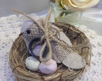 Ring Bearer bird nest, Ring Bearer, Weddings, Burlap Weddings, Country weddings, Rustic weddings, Bird ring holder, Garden weddings, Nest