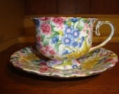 Juliette Chintz Teacup & Saucer by Two's Company