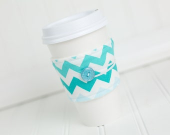 Coffee Sleeve Cozy Aqua Blue Chevron Print Unisex Reusable Cup Cover