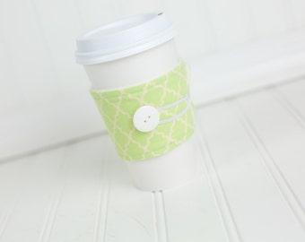 Coffee Sleeve Coffee Cozy Light Green Geometric Pattern Fabric Reusable