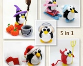 Pack of 5 Penguin Patterns  -  crochet toy amigurumi pattern special offer