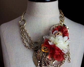 TROPIC OF CANCER Mixed Media Wearable Art Statement Necklace