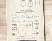 Mason Jar Invitation Couples Shower Bridal Shower Baby Shower Invitation - Printable digital file or printed invitations