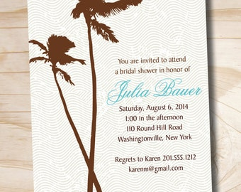 PALM TREE PARADISE Bridal Shower/ Baby Shower Destination Wedding Invitation - Printable digital file or printed invitations