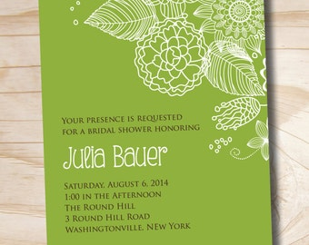 Modern FLORAL ELEGANCE Bridal Shower Invitation - Printable digital file or printed invitations