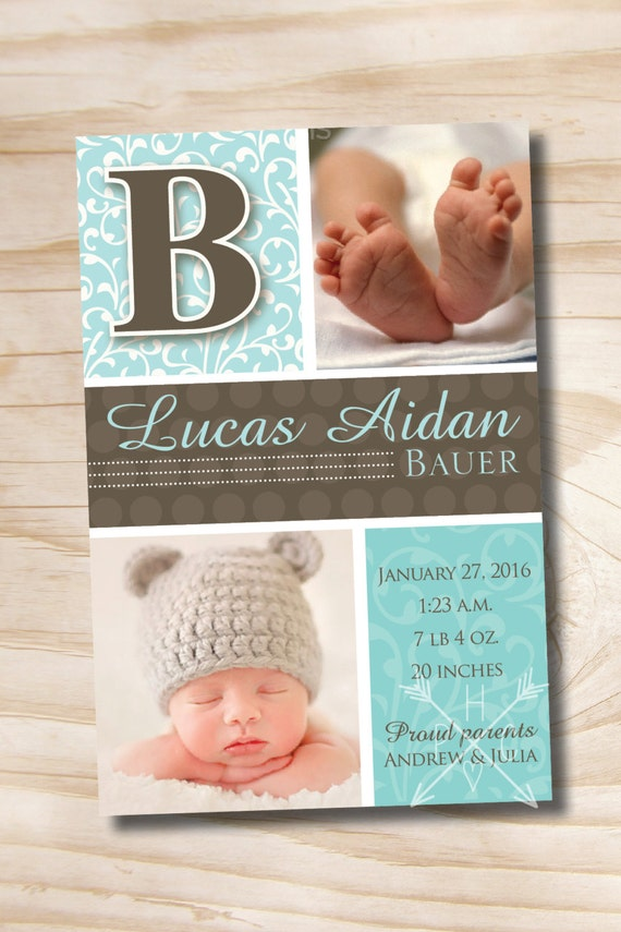 BOLD DAMASK INITIAL Birth Announcement - You Print, printable, diy