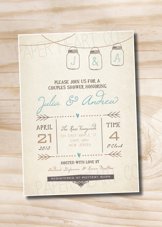 Mason Jar Invitation Couples Shower Bridal Shower Baby Shower