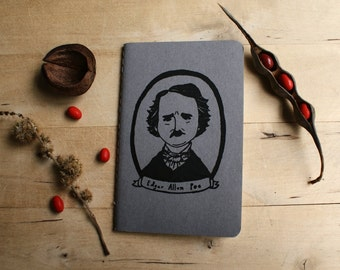 Edgar Allan Poe Mystery Macabre Author Novelist Poet Gray Pocket Moleskine Journal Notebook Gocco Screenprint Back to School English Student