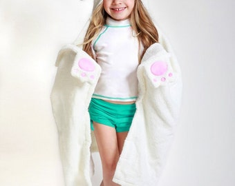 Children's Personalized Bella the Bunny Hooded Towel