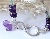 Amethyst Infinity Bracelet, Beaded Bracelet, Tennis Bracelet, Charm Bracelet, Gemstones, February Birthday, Bridal Jewelry, Valentine Gift