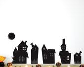 Halloween Wall Decal, Halloween Town, Black, Houses, Full Moon, Modern, Halloween Decoration. Halloween Town Wall Decal