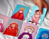 Matryoshka cards Set of 48, colorful and feminine.
