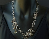 Gemstone necklace. Sterling silver chainmaille necklace with citrine and smoky quartz. Modern statement necklace.