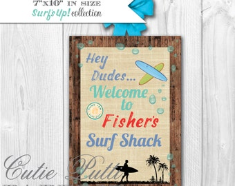 Surfing Party, Surfer Party, Pool Party - PRINTABLE WELCOME SIGN - Cutie Putti Paperie
